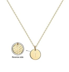 Necklace - Dainty Disc W/ Initial (Gold) (T)