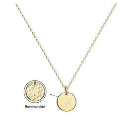 Necklace - Dainty Disc W/ Initial (Gold) (W)