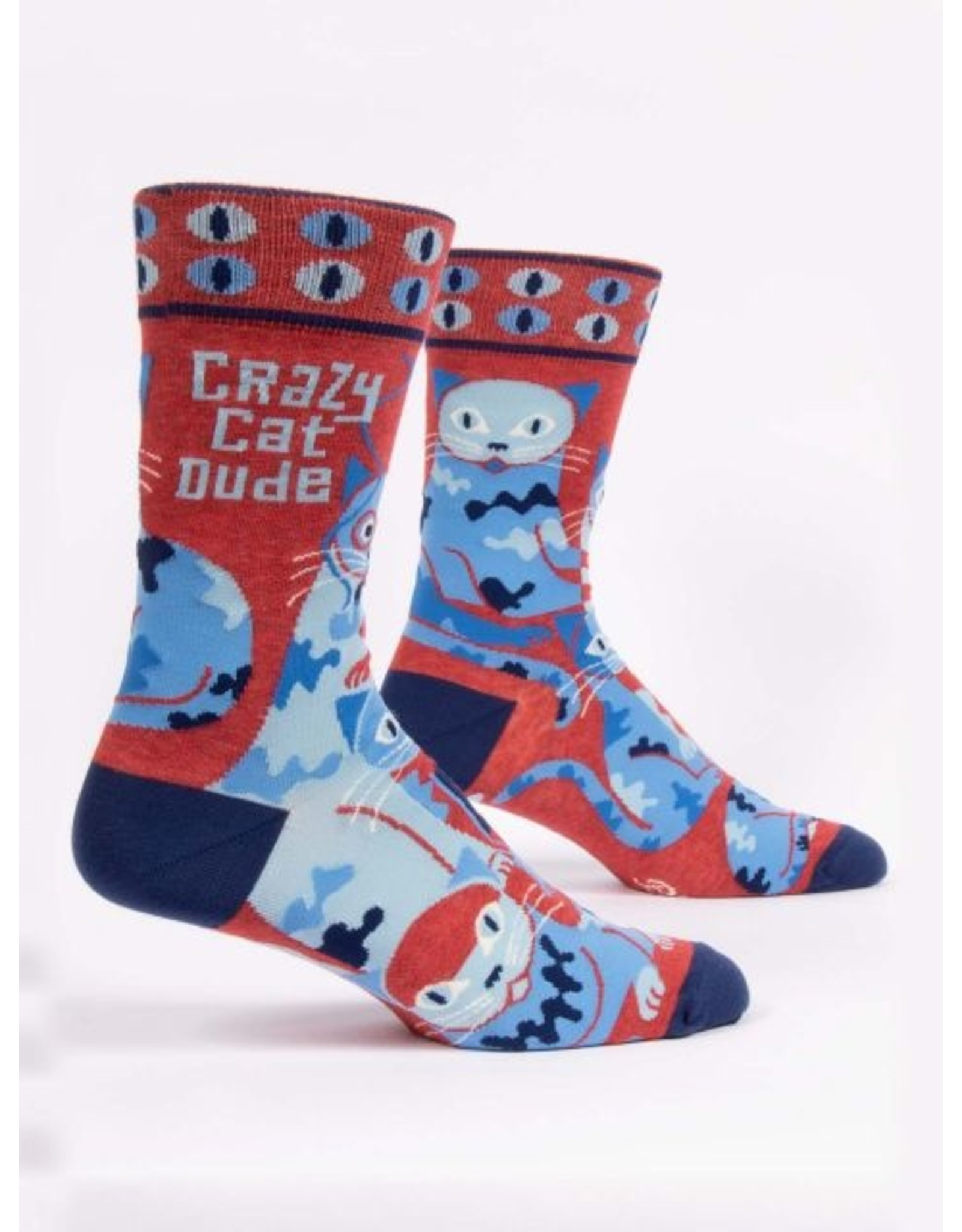 Socks (Mens)  - Crazy Cat Dude (BQ)