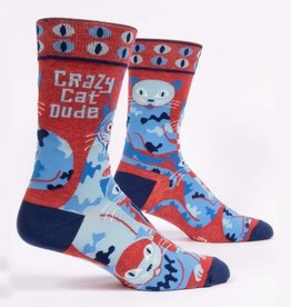 Socks (Mens)  - Crazy Cat Dude (BQ)
