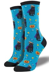 Womens Socks - Witch Cat (Aquamarine)