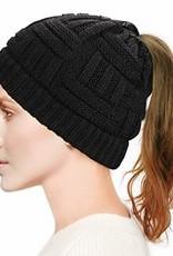 Hat (Beanie) - Black, Ponytail Hole