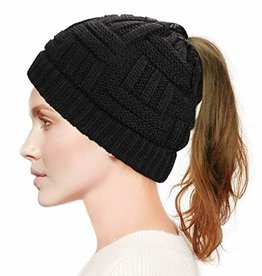 Hat (Beanie) - Black, Ponytail Hole
