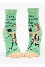 Socks (Womens) (Ankle) - I Like Long Walks To The Library