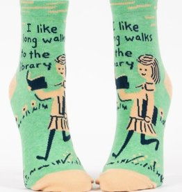 Womens Socks  (Ankle) - I Like Long Walks To The Library