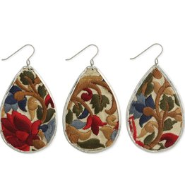 Earrings - Red Flower Embroidered Silver Teardrop