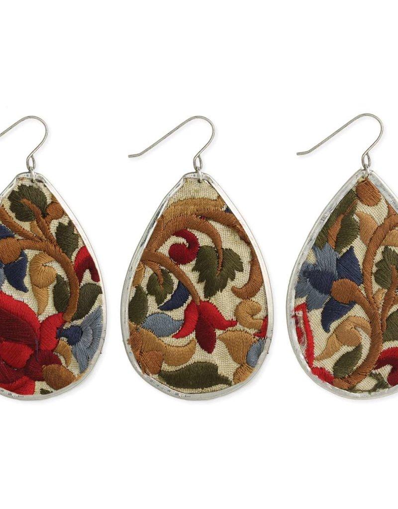 Earrings - Red Flower Embroidered Silver Teardrop
