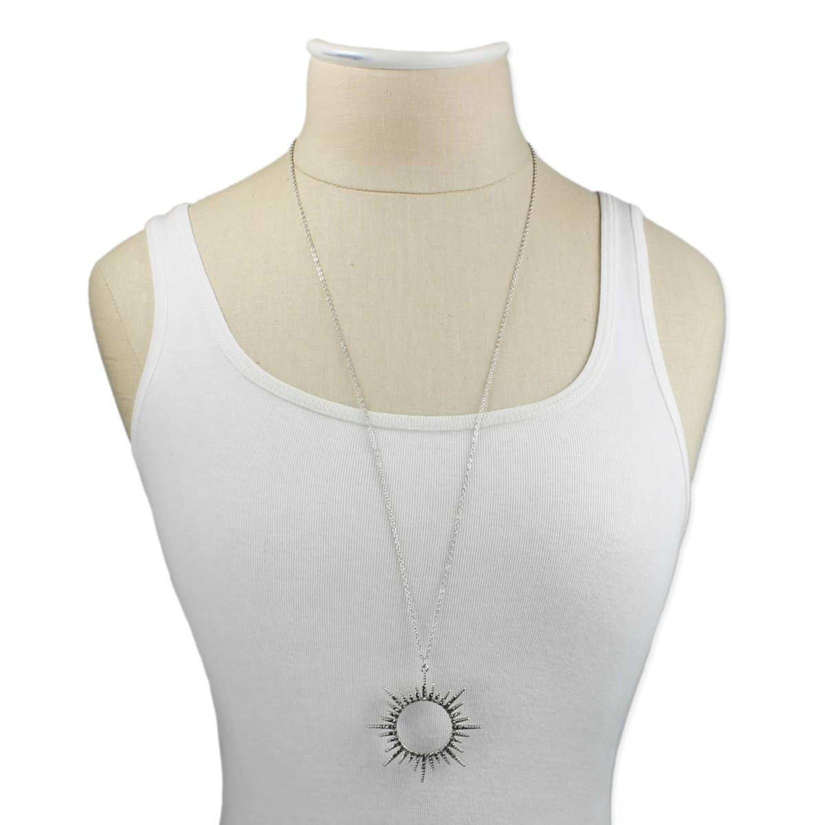 Necklace - Silver Sunburst Crystal