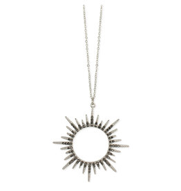 Necklace - Silver Sunburst Crystal