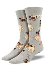 Socks (Mens) - Pug With Pizza