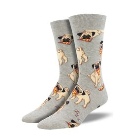 Socks (Mens) - Pug With Pizza