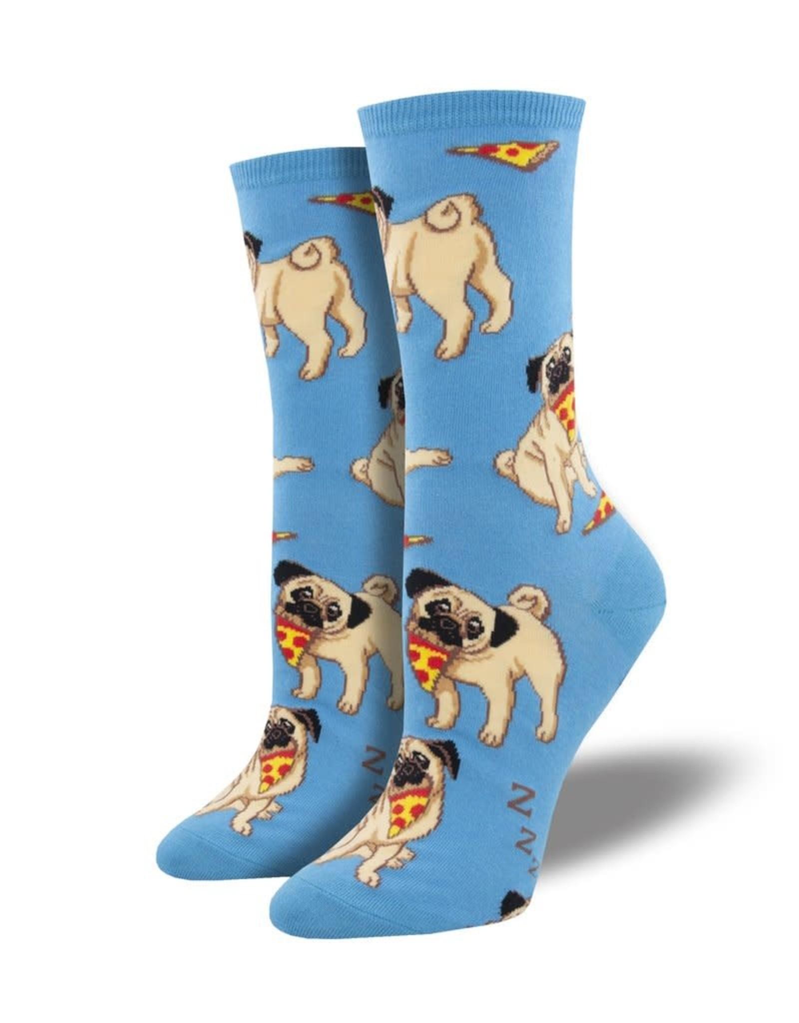 Socks (Womens) - Pug With Pizza