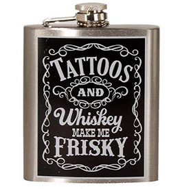 Spoontiques Flask - Tattoos And Whiskey Make Me Frisky