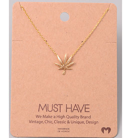 Fame Accessories Necklace - Pot Leaf (Gold)