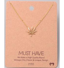 Necklace - Pot Leaf (Gold)