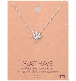 Fame Accessories Necklace - Pot Leaf (Silver)