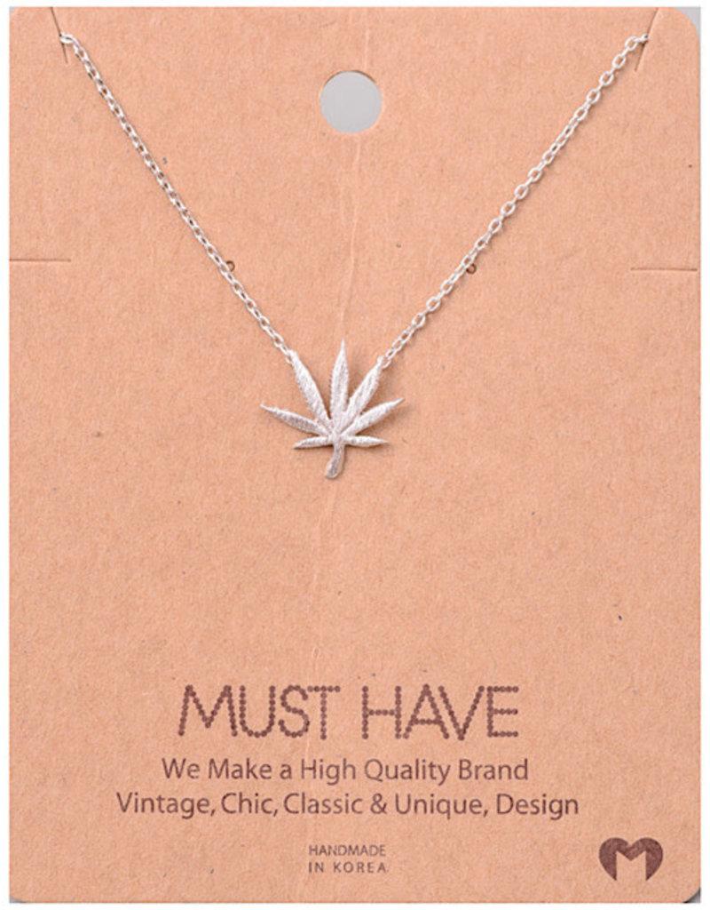 Fame Accessories Necklace - Pot Leaf (Silver)