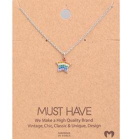 Fame Accessories Necklace - Rainbow Star (Silver)