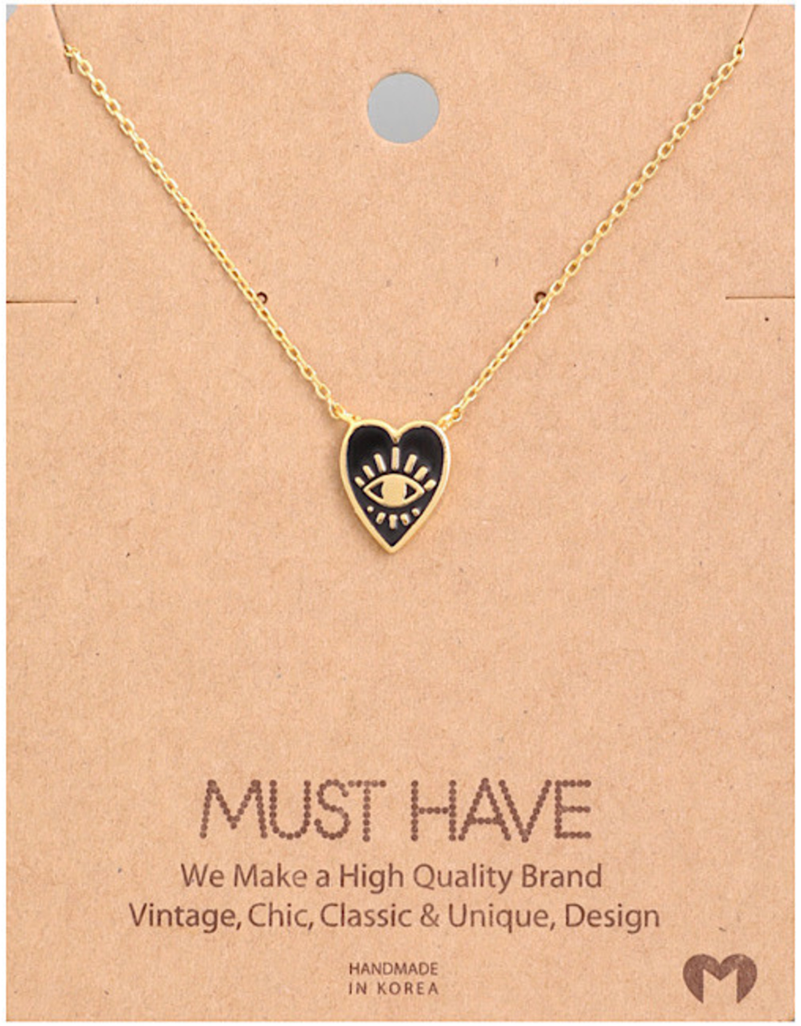 Necklace - Heart With Eye (Gold)
