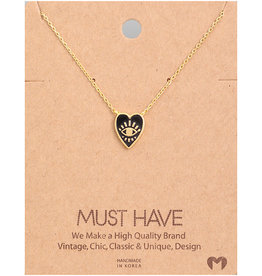 Fame Accessories Necklace - Heart With Eye (Gold)