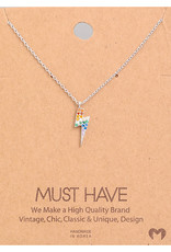 Fame Accessories Necklace - Studded Rainbow Lighting (Silver)