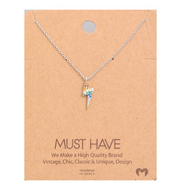 Necklace - Studded Rainbow Lighting (Silver)