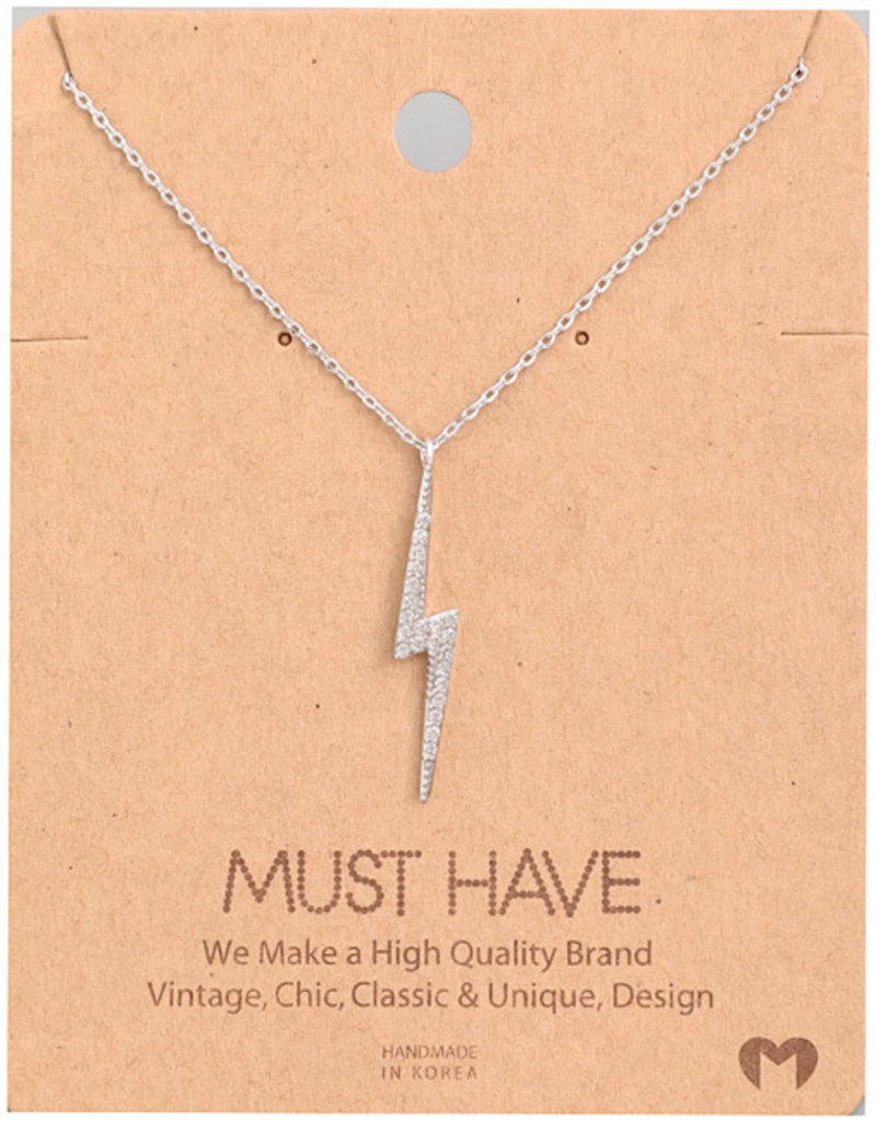 Fame Accessories Necklace - Studded Lighting (Silver)