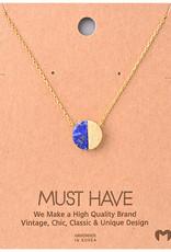Necklace - Semi Circle Stone (Gold)