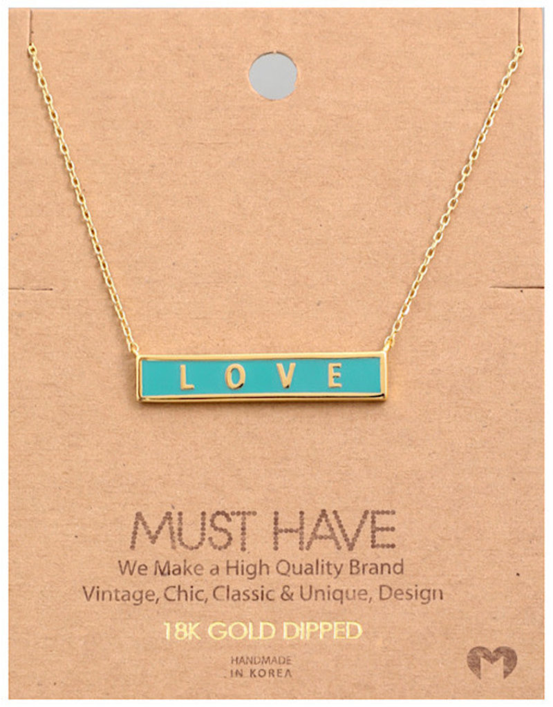 Fame Accessories Necklace - Love Bar (Gold)