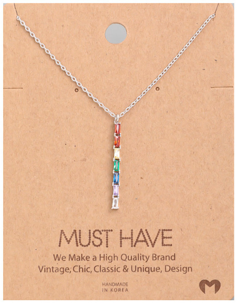 Fame Accessories Necklace - Rainbow Studded Bar (Silver)