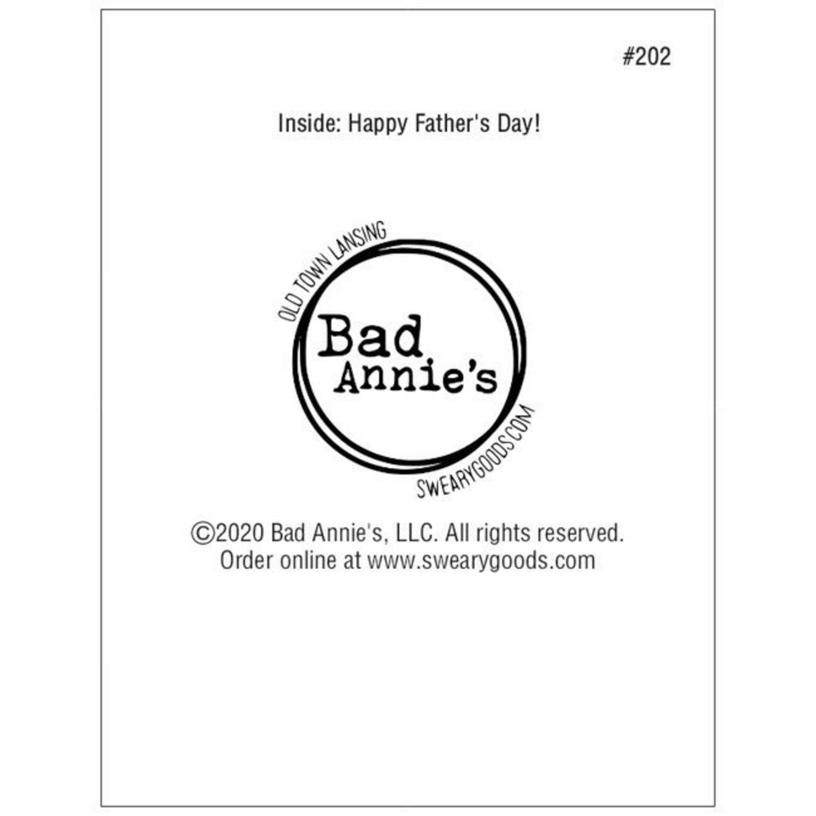 Bad Annie's Card #202 - Fucked It Up With Kids, Happy Fathers Day