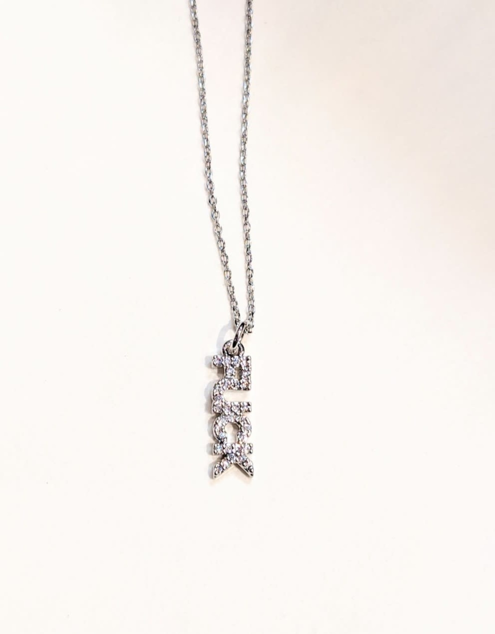 """Necklace - Fuck - Silver Pave Style (""""16+ """"2 Ext)"""