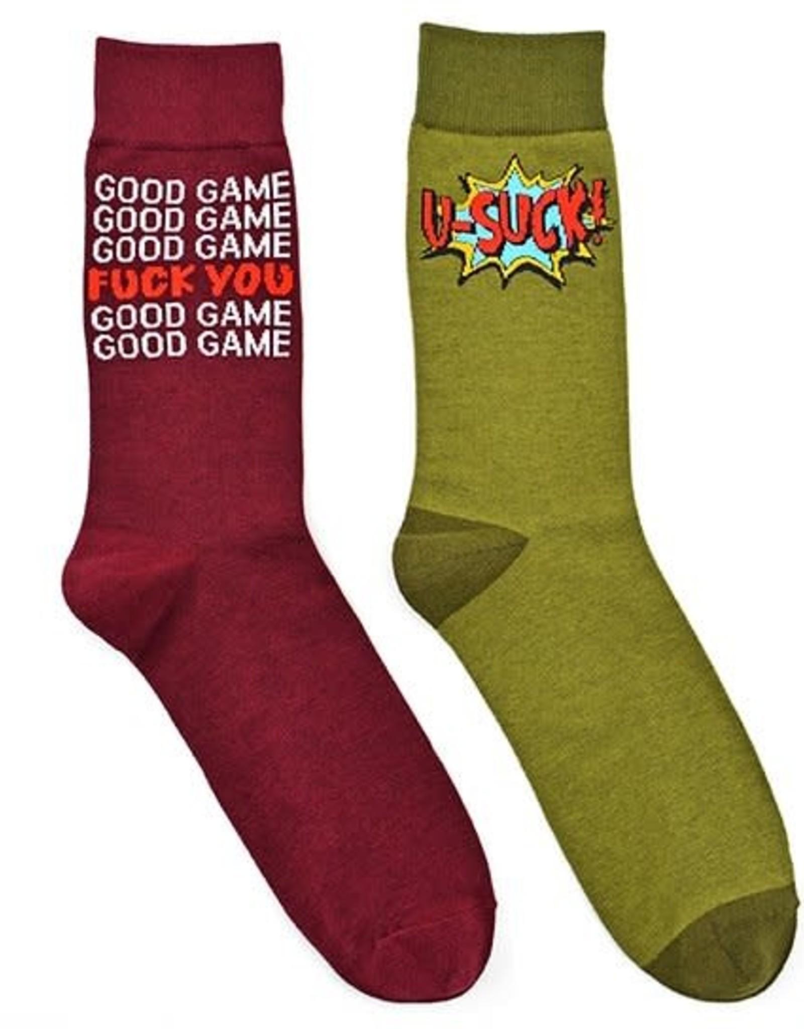 Socks (Mens) (2 Pair) - Good Game Fuck You, U Suck