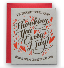Ladyfingers Letterpress Card - Thanking You Every Day