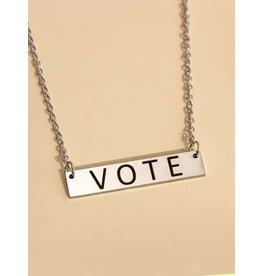 Necklace - Vote (Silver Bar)