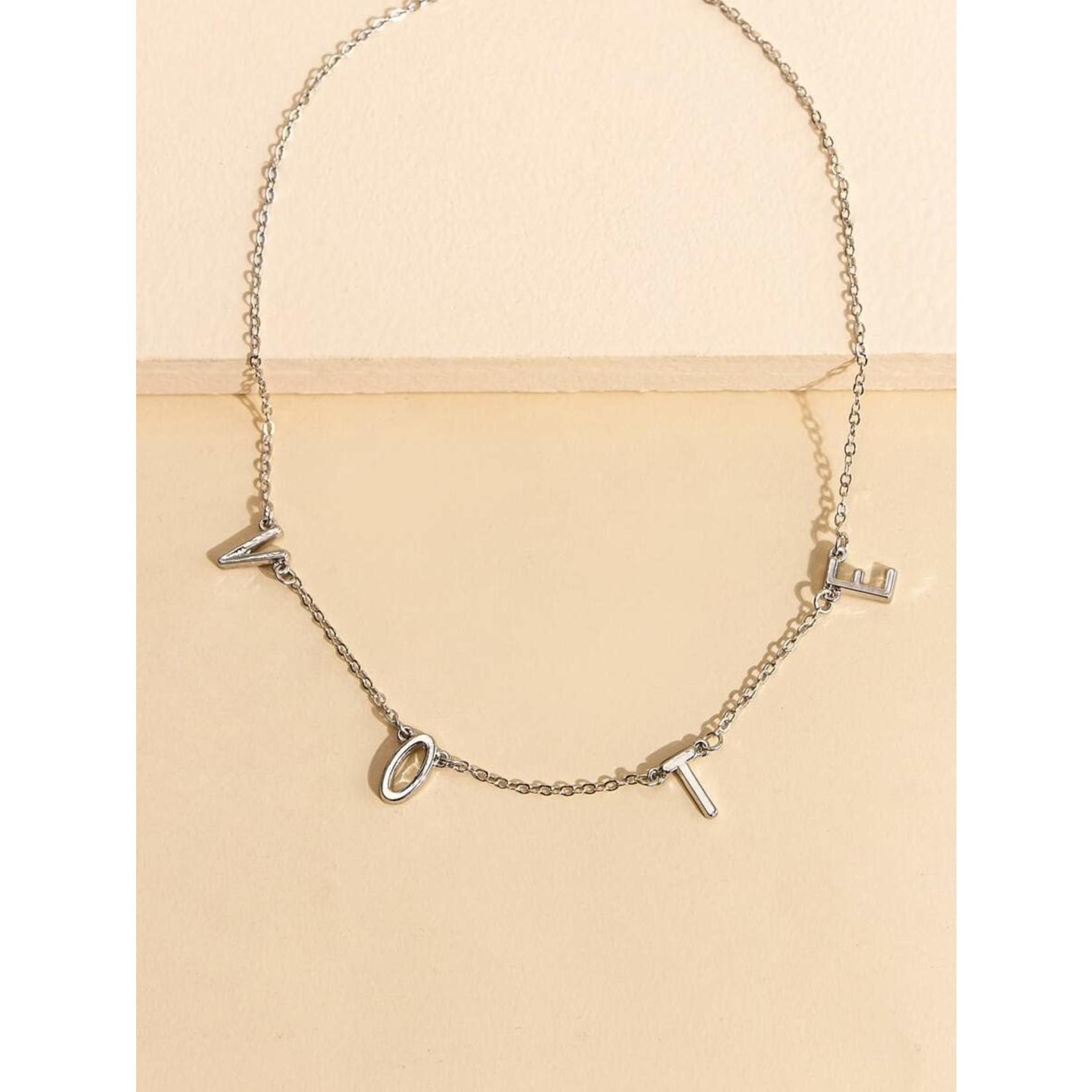 Necklace - VOTE - (Silver tone)