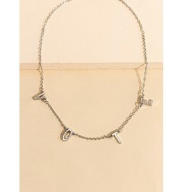 Necklace - VOTE - (Silver tone)