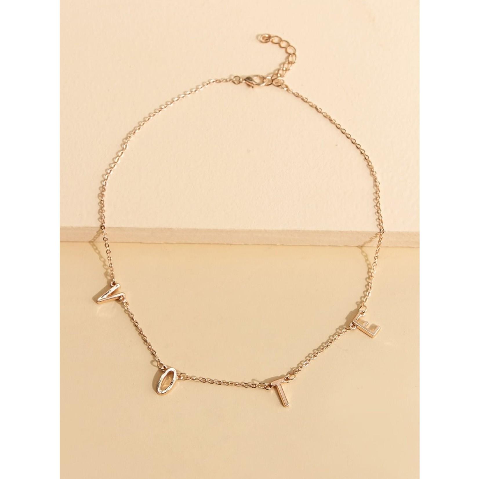 Necklace - VOTE - (Rose Gold Tone)