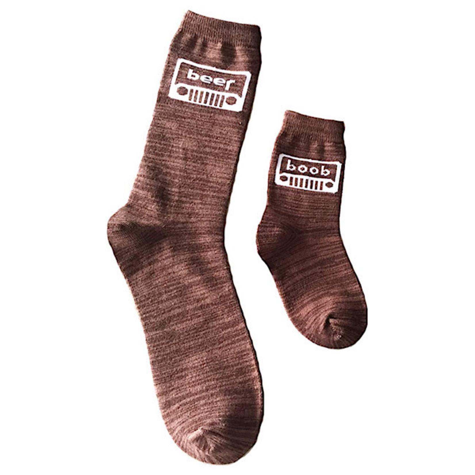 Socks (2 Pack)(Mens & Kids) - Beer, Boob