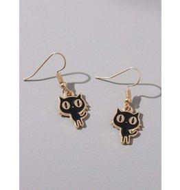 Earrings - Cat (dangle) Black and Gold Cartoon