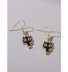 Shein Earrings - Cat (dangle) Black and Gold Cartoon