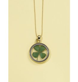 Shein Necklace - Pressed Shamrock 4 Leaf Clover