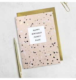 Paper Plane Card - Happy Birthday, Fancy Face