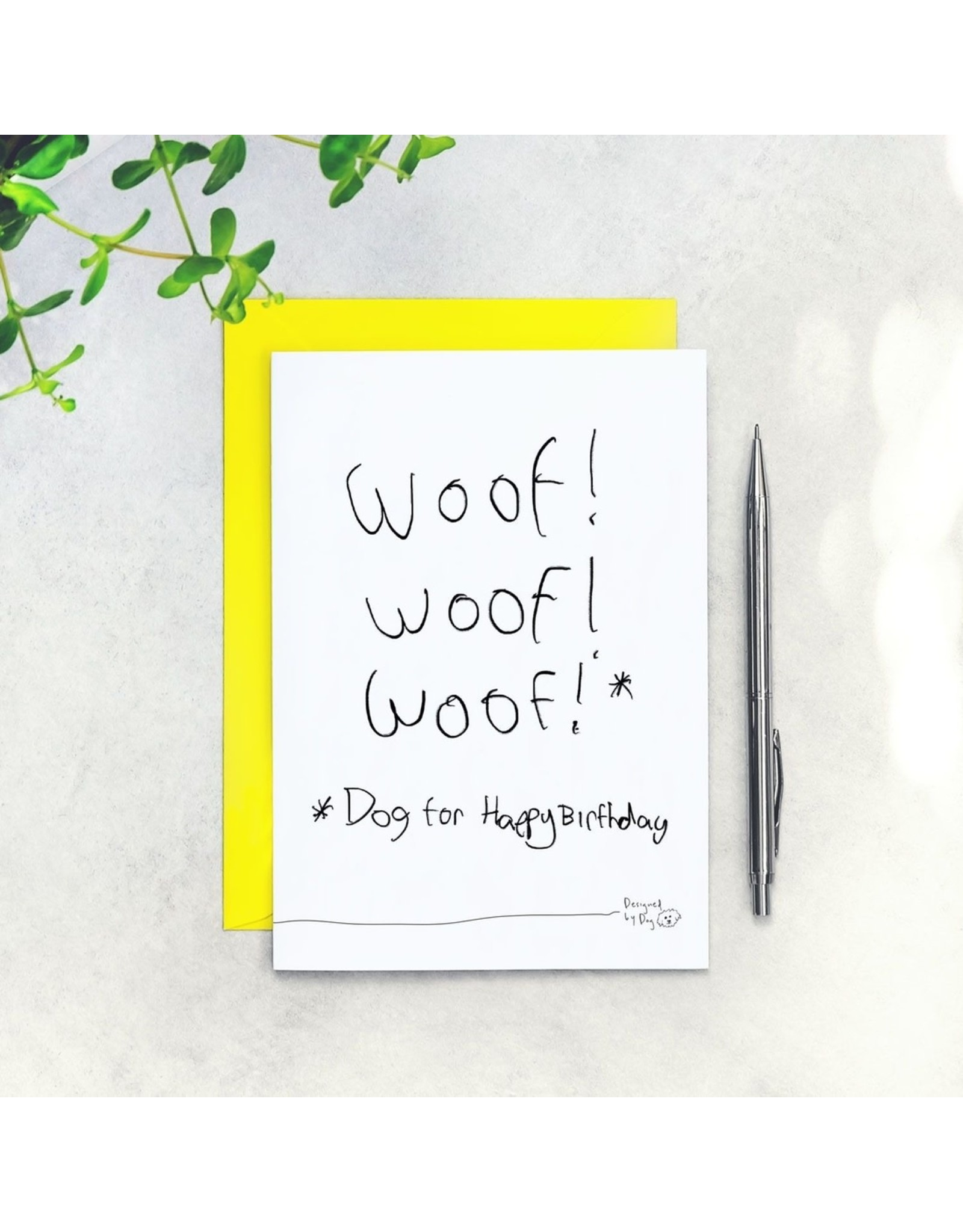 """Paper Plane Card - Woof (That's dog for """"Happy Birthday"""")"""