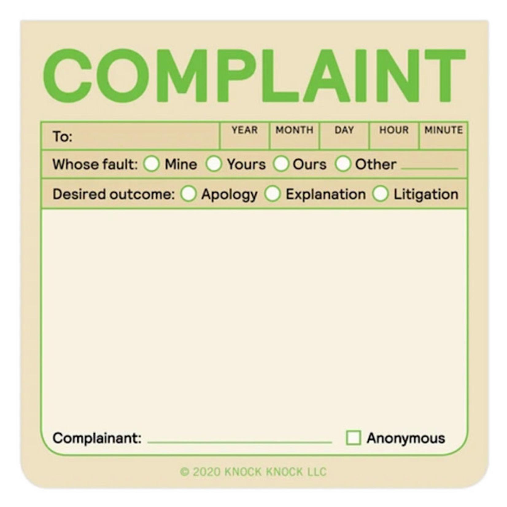 Sticky Note - Complaint