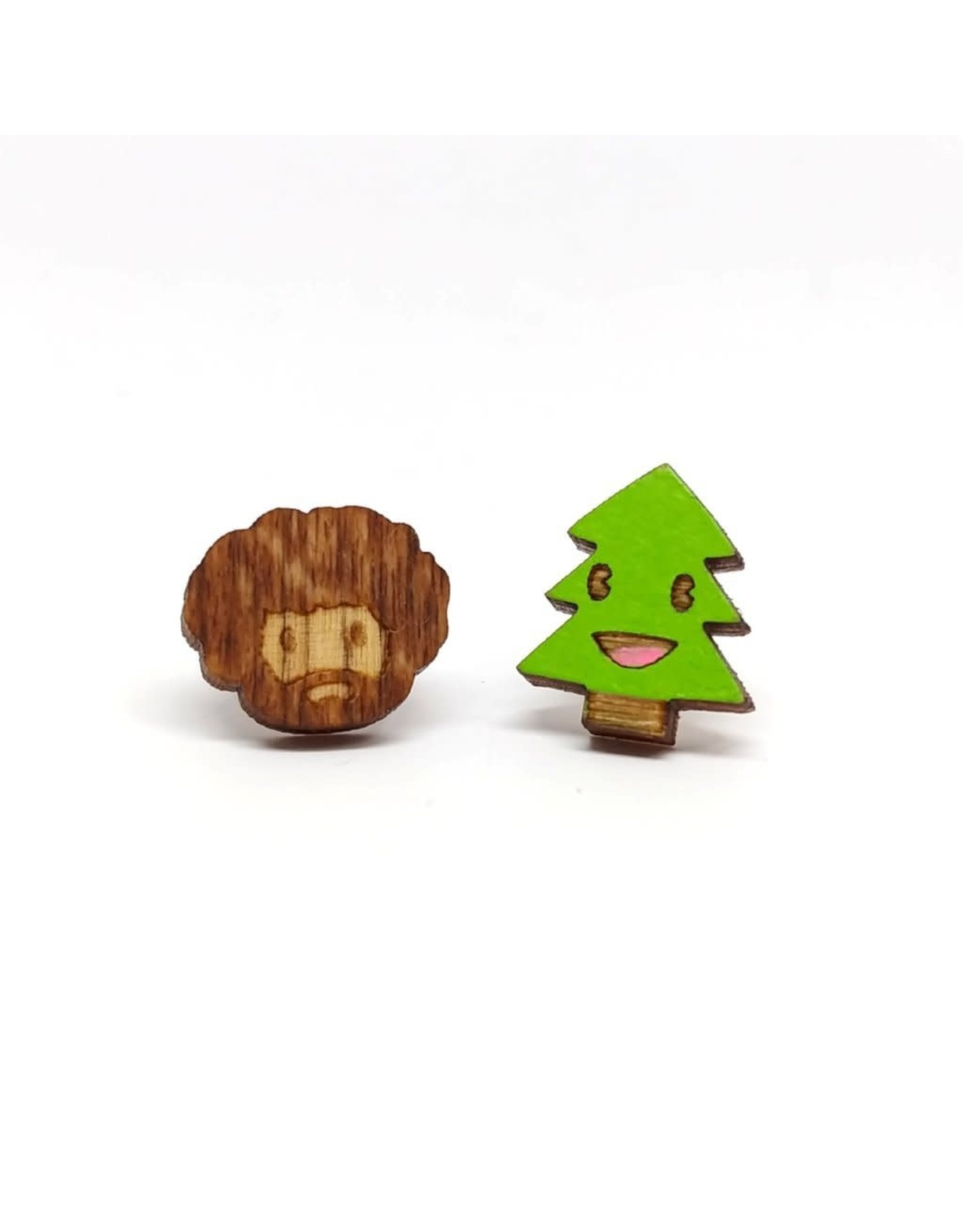 Unpossible Cuts Earrings - Bob Ross And Tree