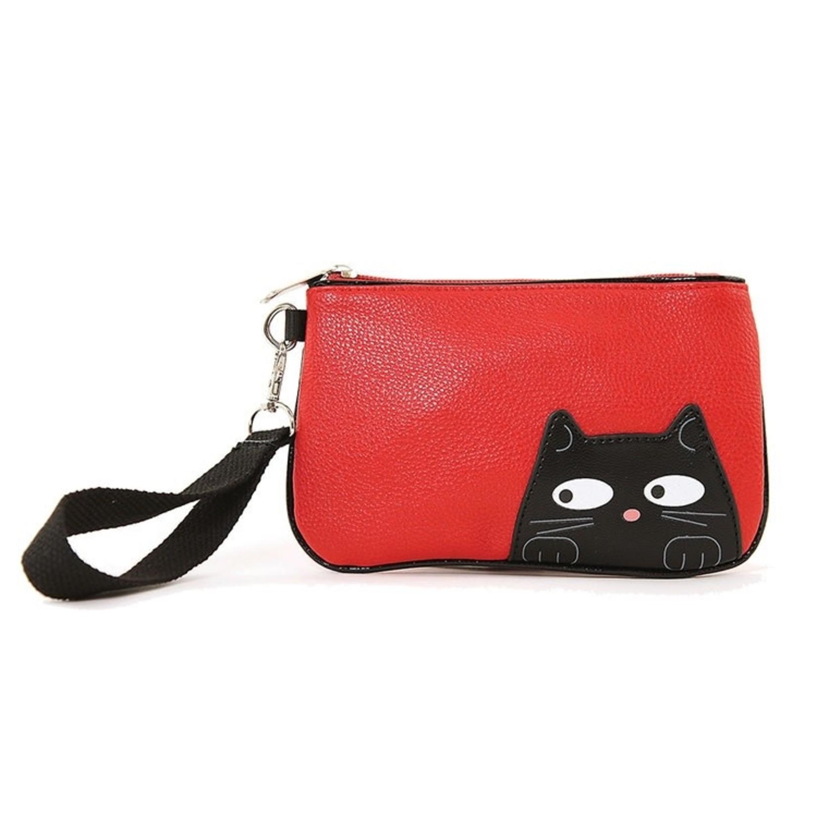 Purse (Wristlet) Peeking Cat