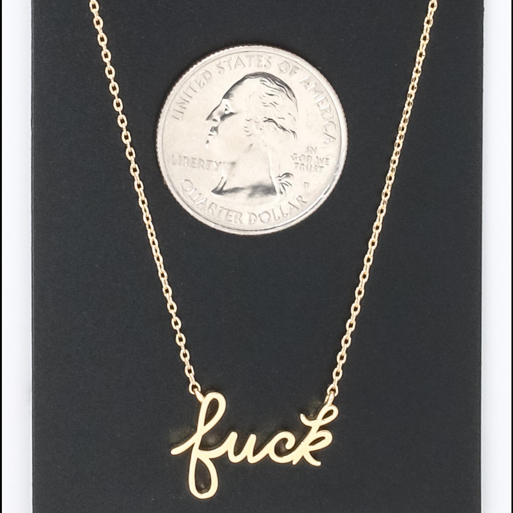 """Necklace - Fuck (cursive) 16""""+2"""" Extender"""