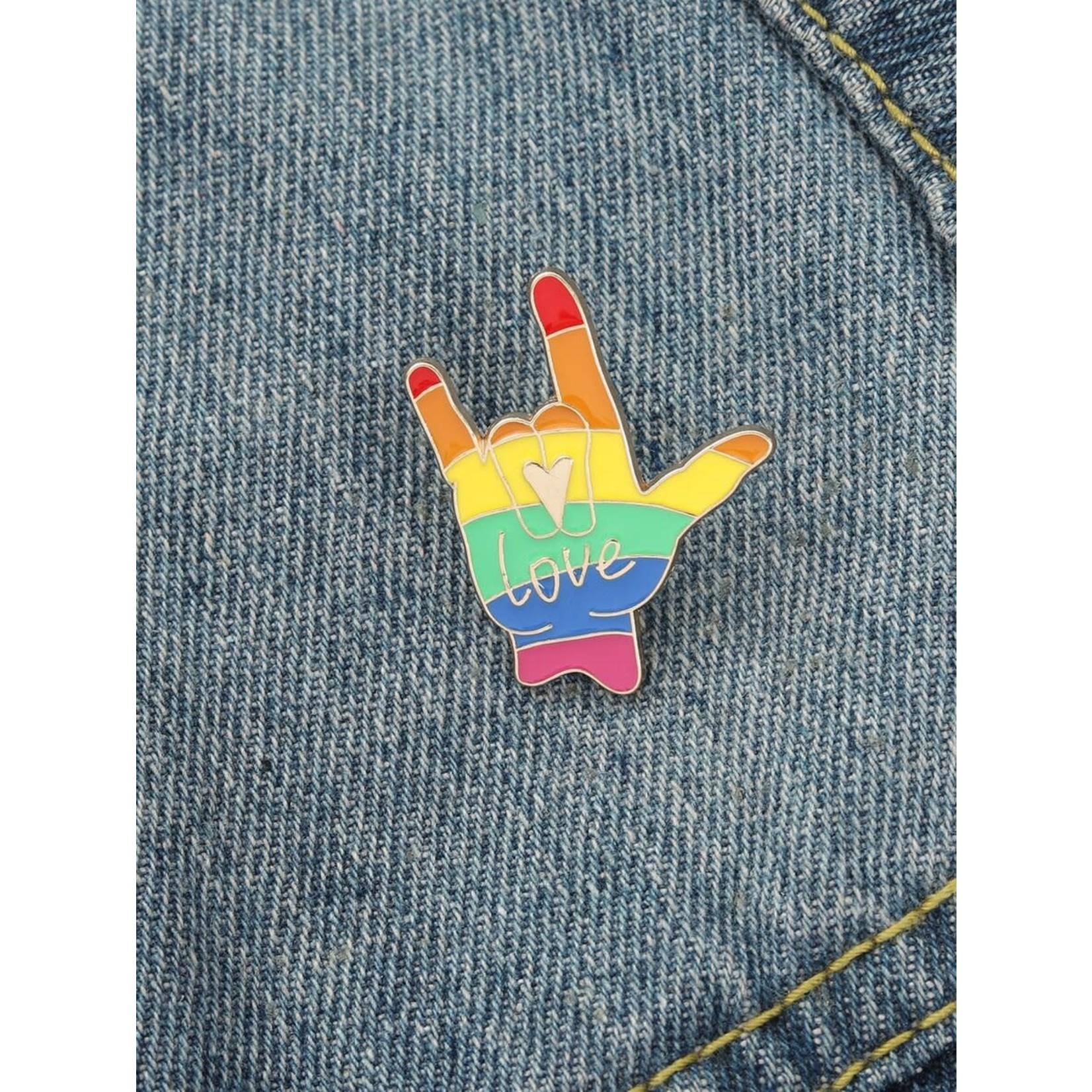 Pin - Peace And Love Rainbow Hand
