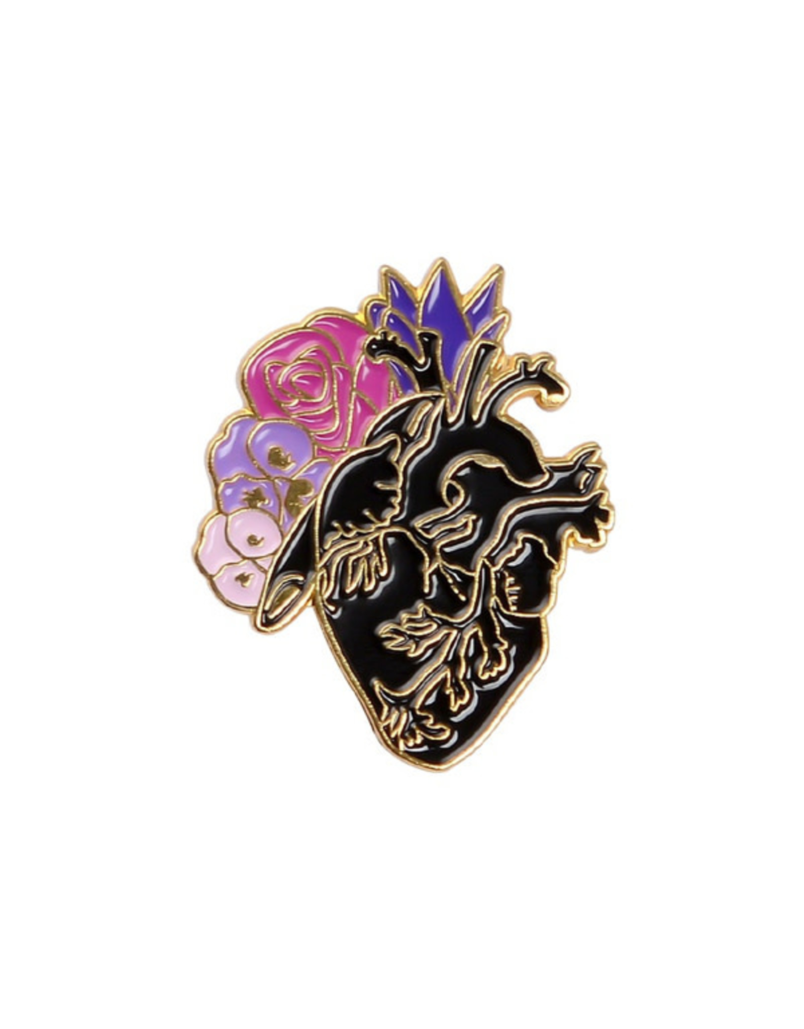 Pin - Heart With Flowers - Black